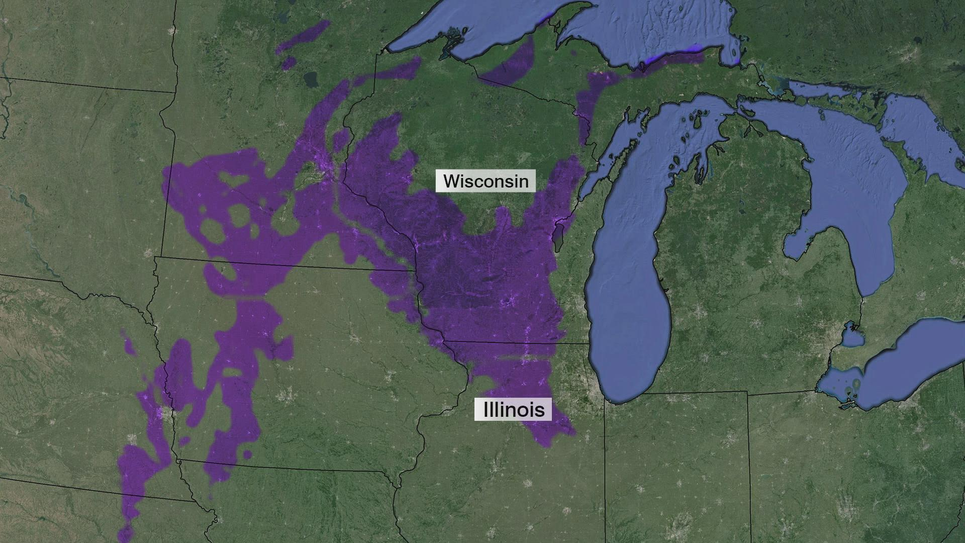 The deep aquifer stretches from northern Wisconsin to northern Illinois.