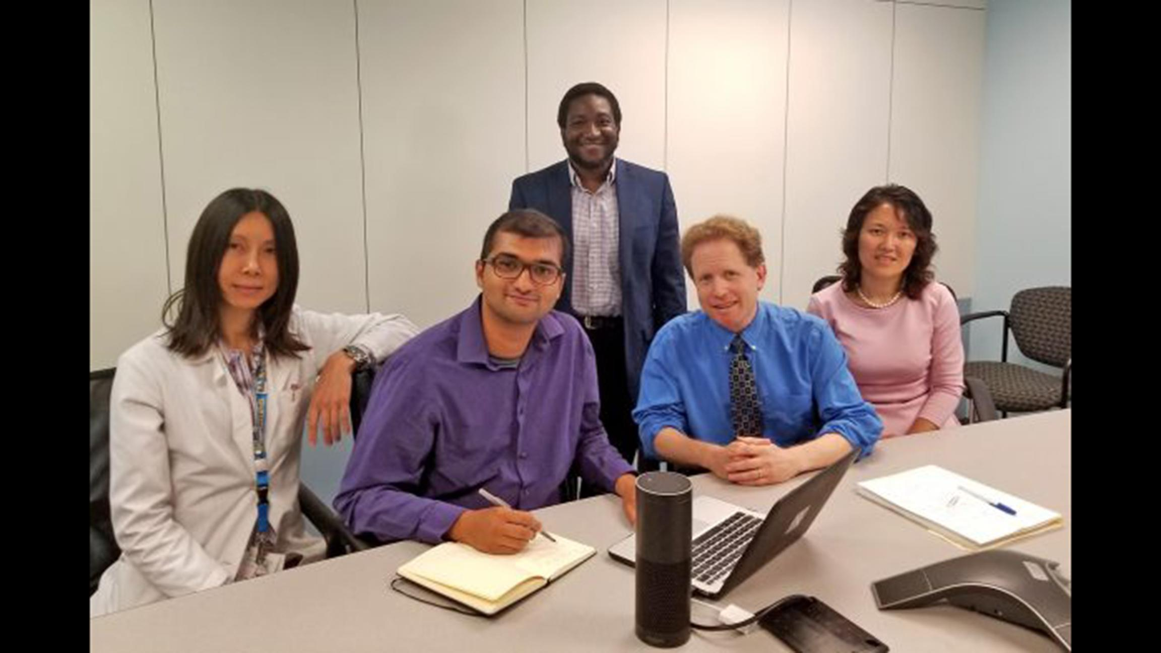 From left: UIC researchers Alex Leow, Faraz Hussain, Olu Ajilore, Ben Gerber and Jun Ma developed DiaBetty, a voice-enabled diabetes coach and educator as part of the Alexa Diabetes Challenge. (Courtesy of the University of Illinois at Chicago)