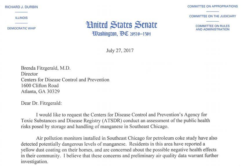 Document: Durbin's letter to the Centers for Disease Control and Prevention (Senate.gov)