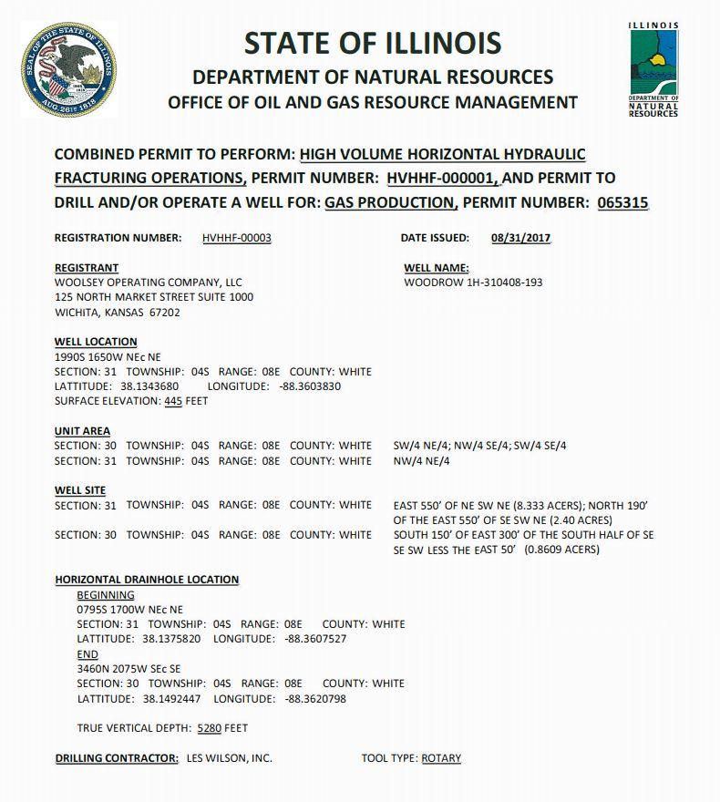 Document: Woolsey fracking permit from IDNR (IDNR)