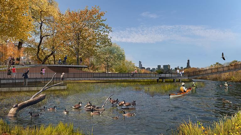 A rendering shows a wetland park and natural playground on the north branch of the Chicago River. The plan is part of the new Our Great Rivers project announced Wednesday. (Metropolitan Planning Council)