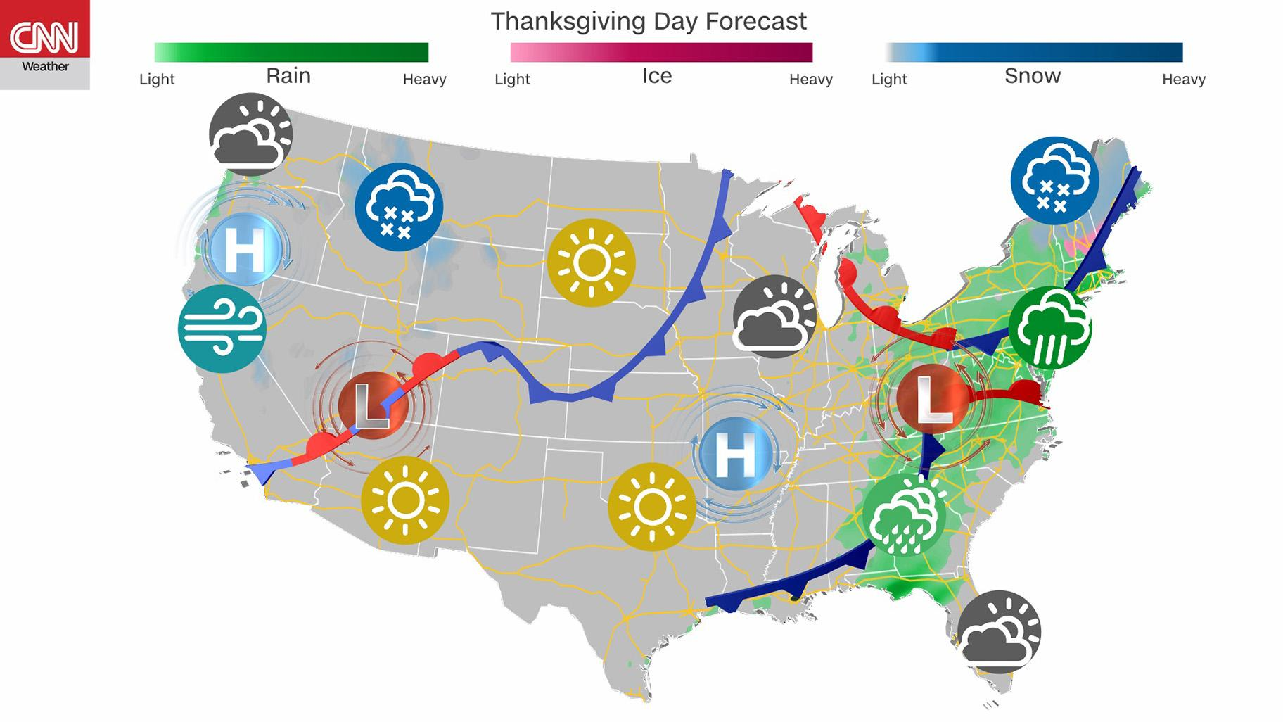 Thanksgiving weather forecast: November is often the gloomiest time of year in the Northwest, and the region will live up to those soggy expectations this week. (Credit: CNN)