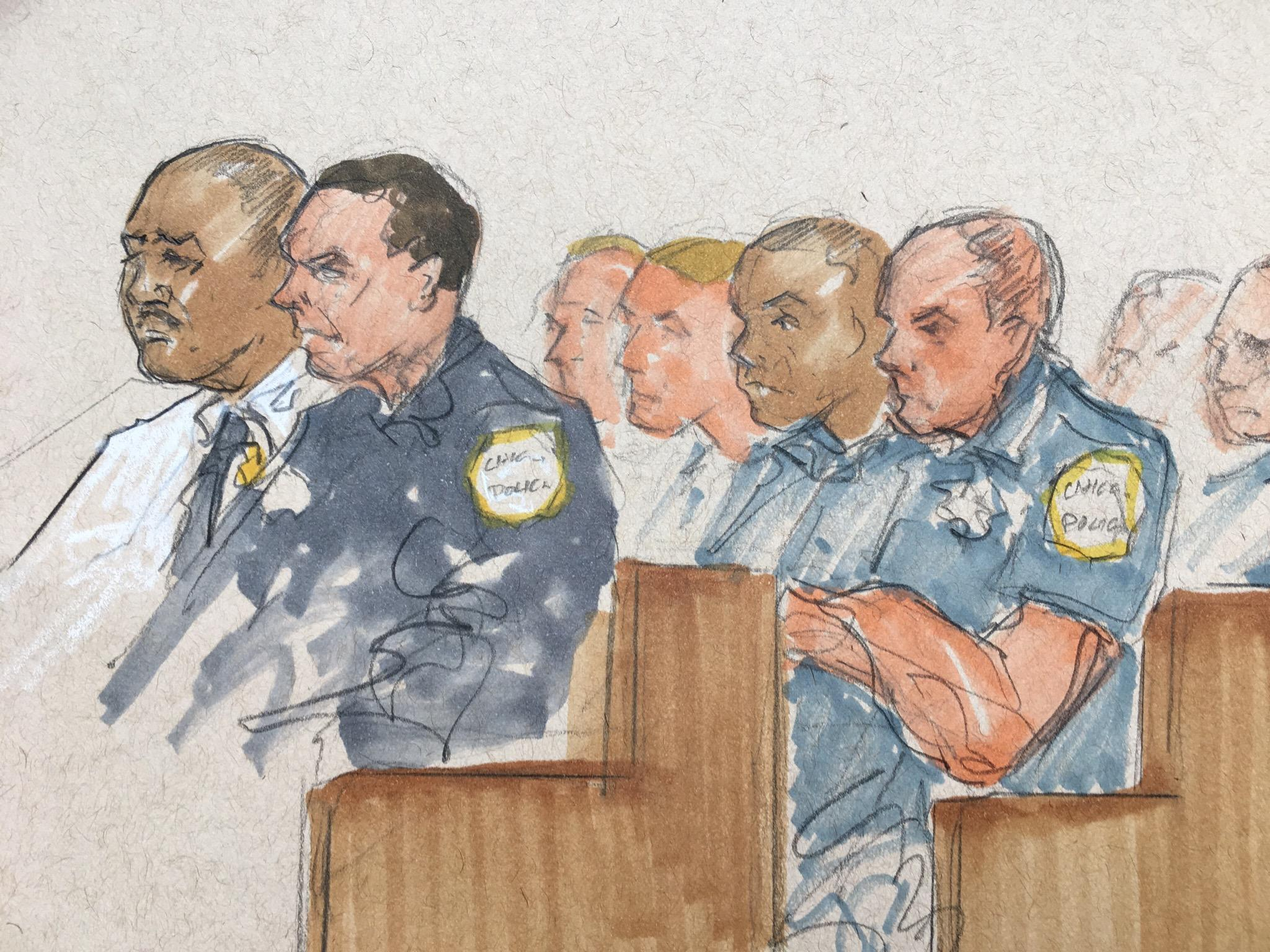 Police Superintendent Eddie Johnson, left, and police officers at Thursday's hearing. (Thomas Gianni sketch)