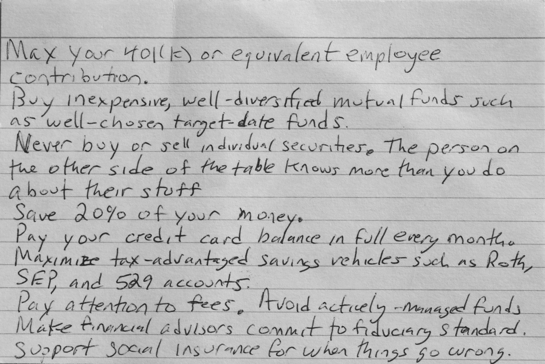 Why An 'Index Card' of Financial Advice is All You Need | Chicago ...