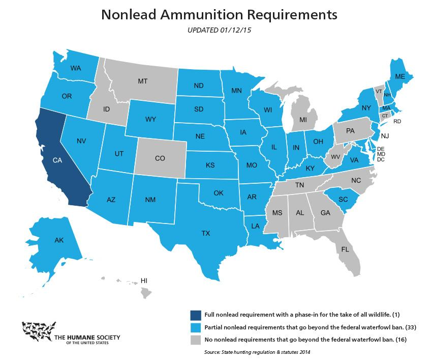 Illinois is among 34 states that have expanded restrictions on lead ammunition since passage a 1991 federal law. (Humane Society)