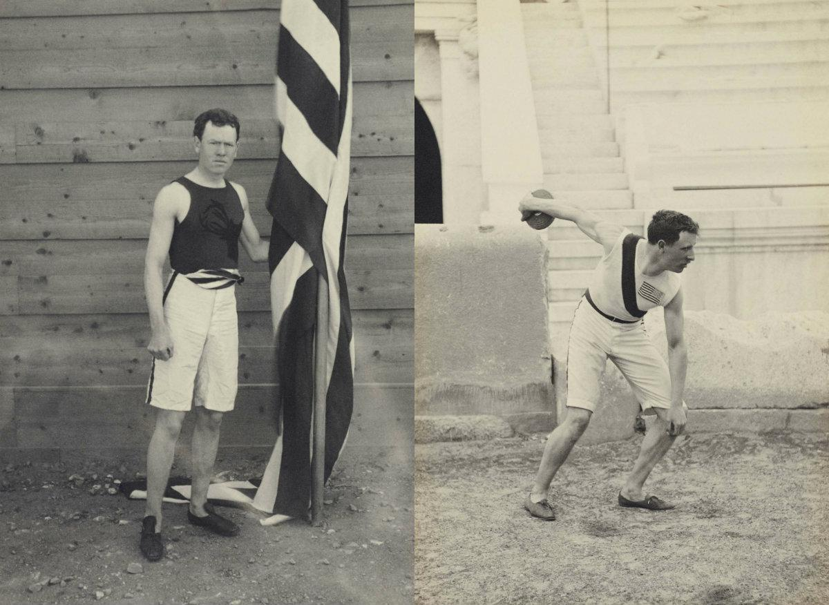 Left: James Connolly won the gold for triple jump in the first modern Olympic event. Right: Robert Garrett took gold for shot put and discus. (Courtesy of The Benaki Museum)