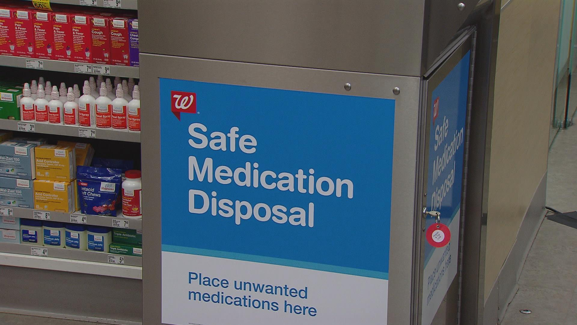 A Walgreens kiosk offer safe disposal of prescription and over-the-counter drugs.