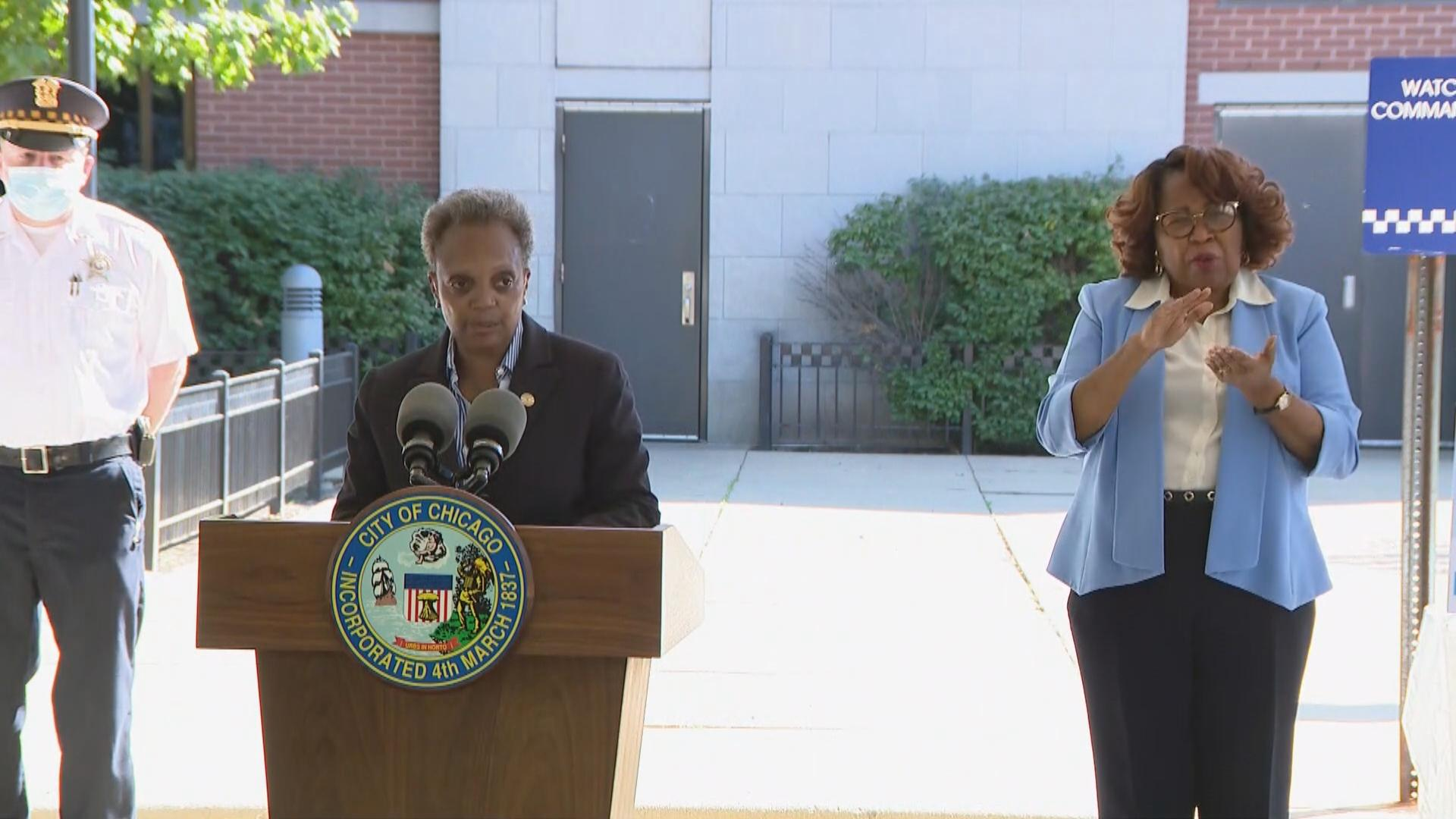 Mayor Lori Lightfoot speaks Thursday, Aug. 20, 2020 at a press conference about the Chicago Police Department expanding its community policing initiative. (WTTW News)