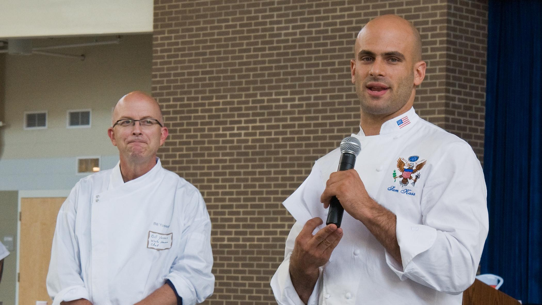 Sam Kass, right, speaks about healthy foods on Saturday. (U.S. Department of Agriculture / Flickr)
