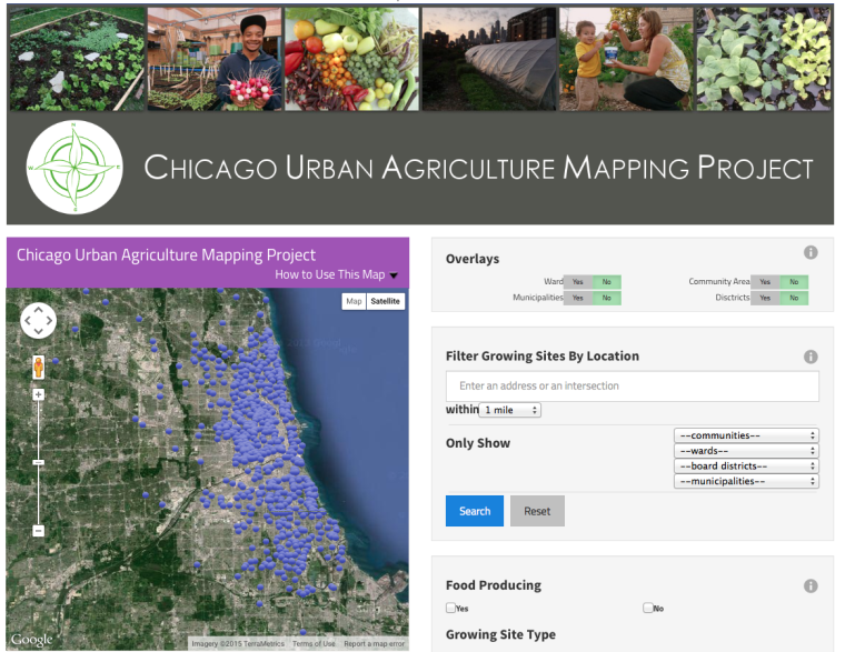 The Chicago Urban Agriculture Mapping Project inventories agriculture and community gardens in Chicago. (Advocates for Urban Agriculture)