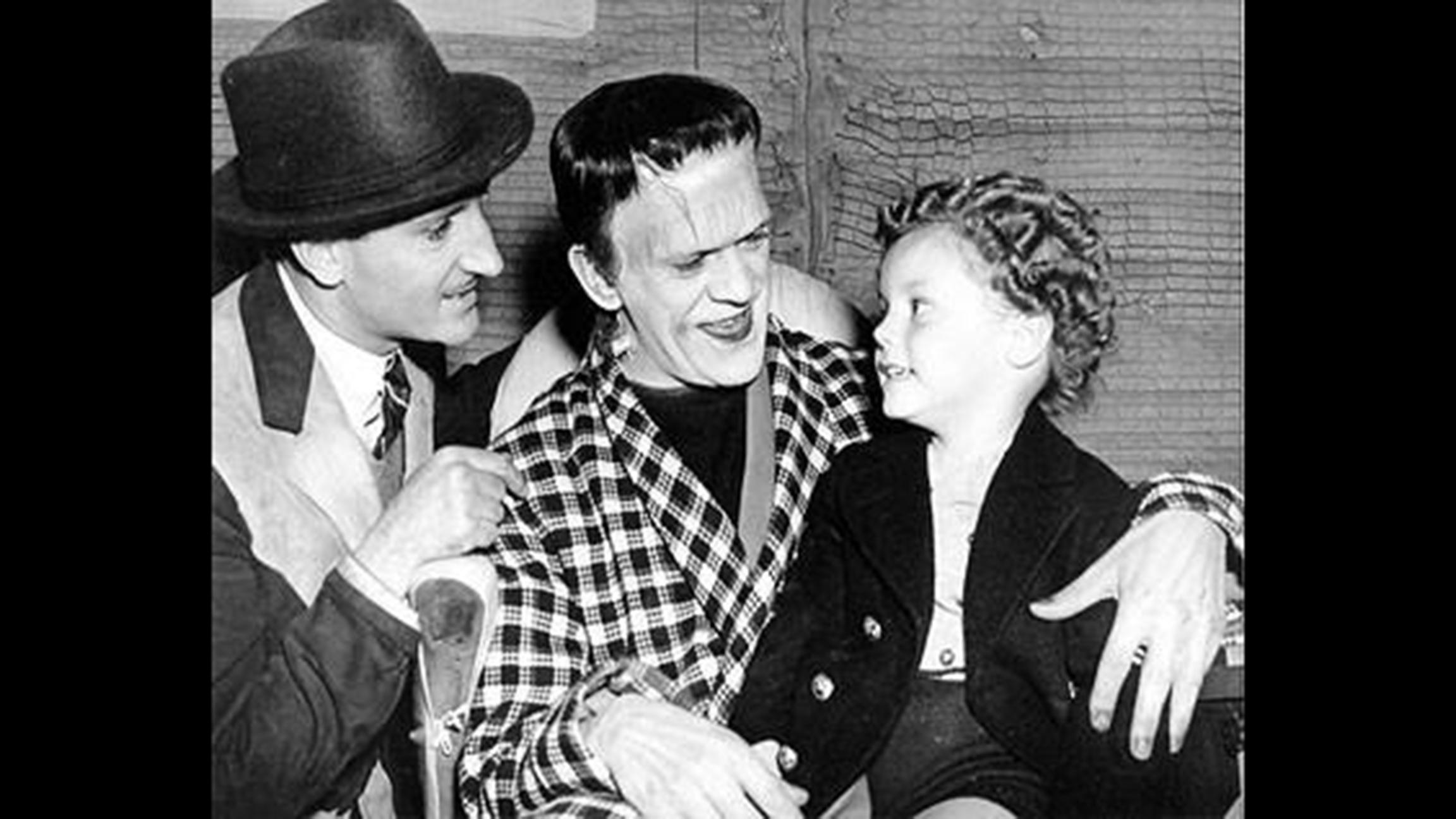 Donnie Dunagan on set with Boris Karloff and Basil Rathbone