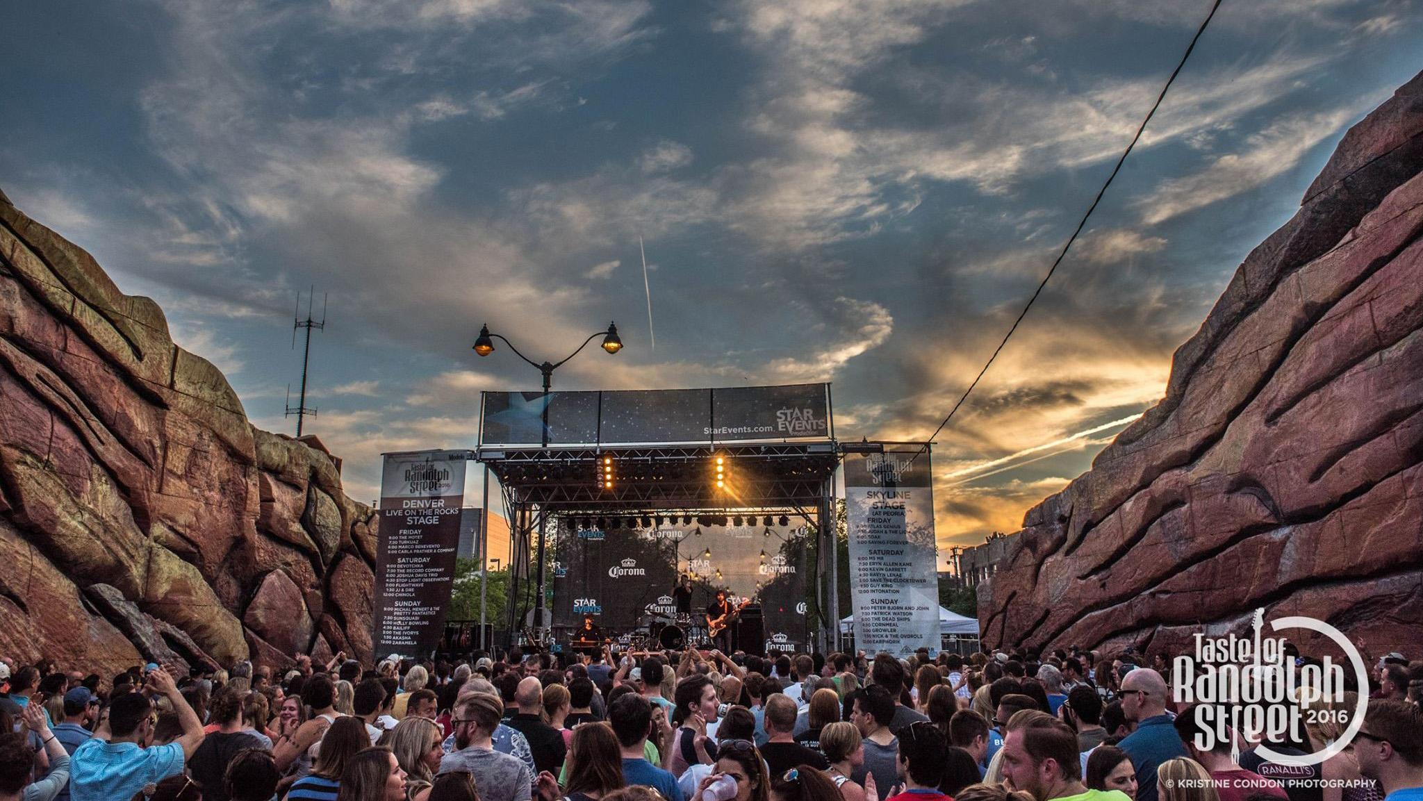 The Denver Live on the Rocks stage replicates Colorado's infamous Red Rocks Amphitheater. (Taste of Randolph / Facebook)