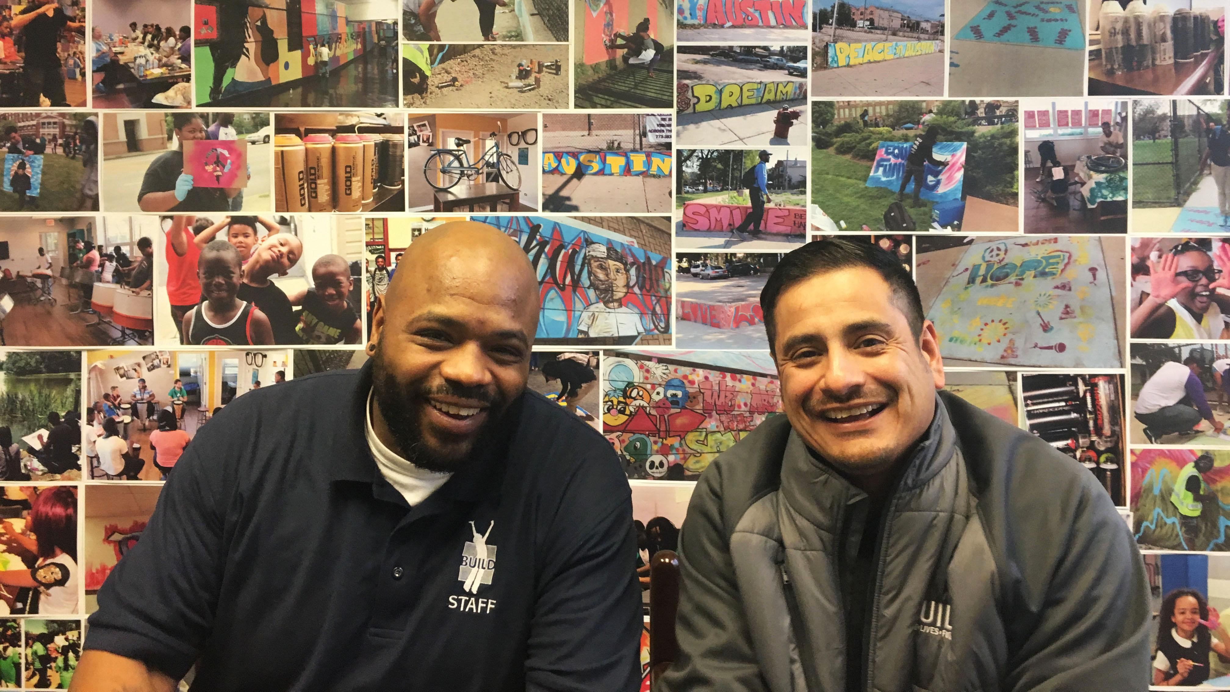 Terrence Smith, left, and Martin Anguiano are on a team of nine intervention specialists at BUILD Chicago. (Maya Miller / Chicago Tonight)