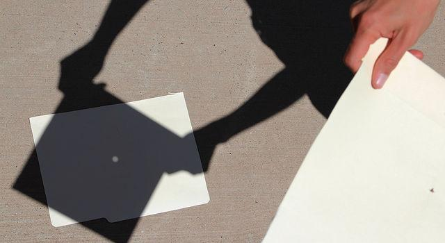 Using a pinhole projection is one method to view the solar eclipse safely. (Courtesy of NASA)