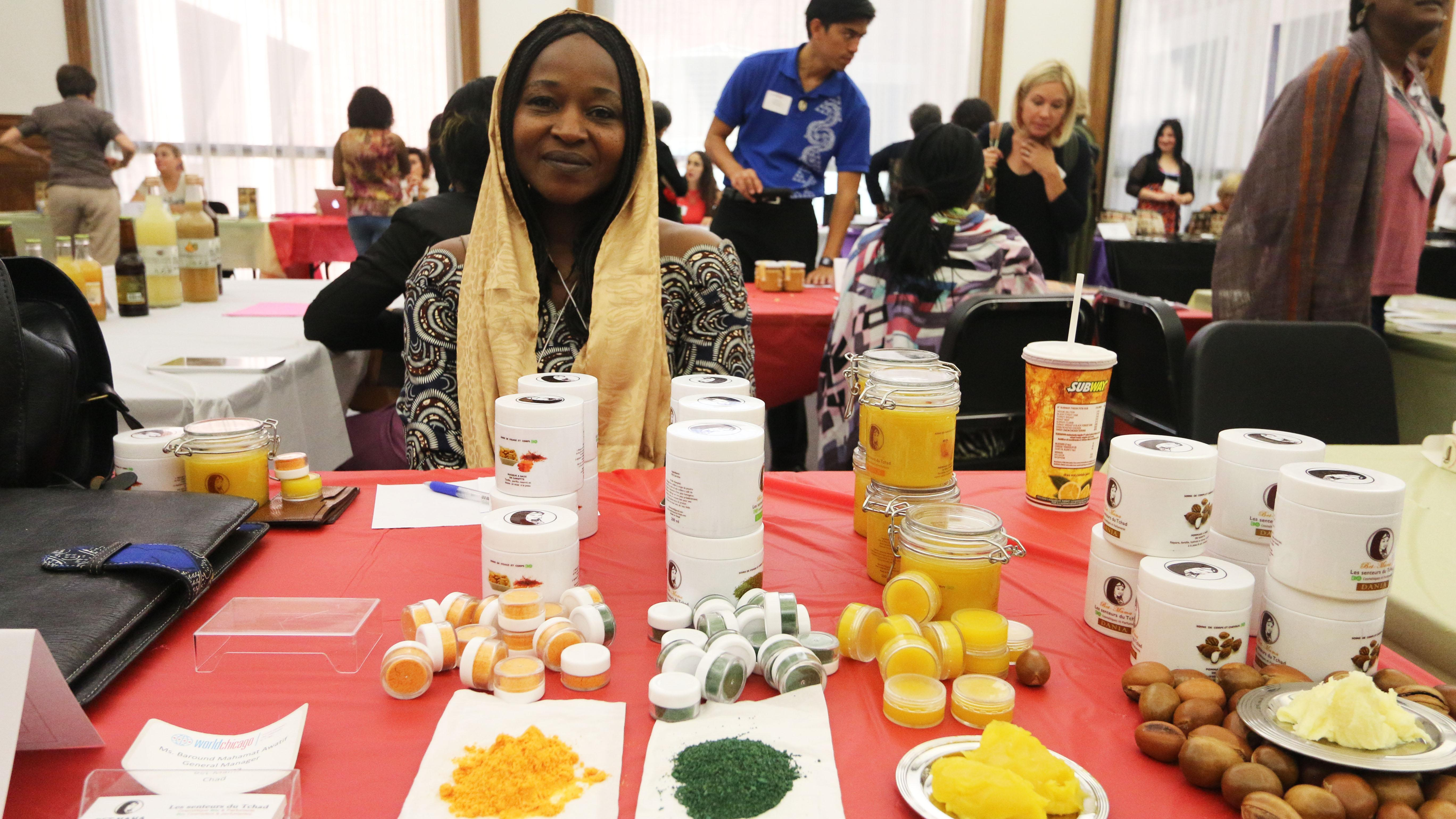 Baround Mahamat Awatif of Bet-Mama in Chad displays handmade cosmetics in 2015. (Courtesy of Peggy Parfenoff)