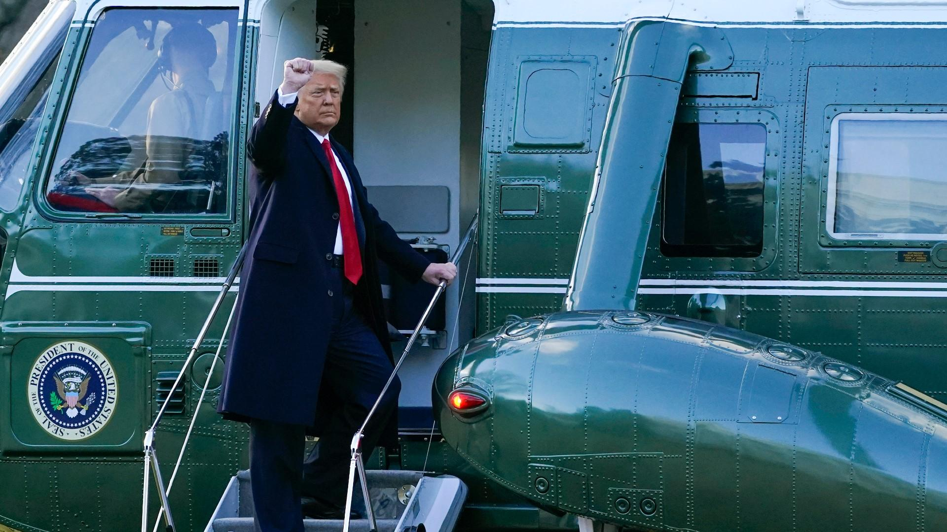 President Donald Trump gestures as he boards Marine One on the South Lawn of the White House, Wednesday, Jan. 20, 2021, in Washington. Trump is en route to his Mar-a-Lago Florida Resort. (AP Photo / Alex Brandon)