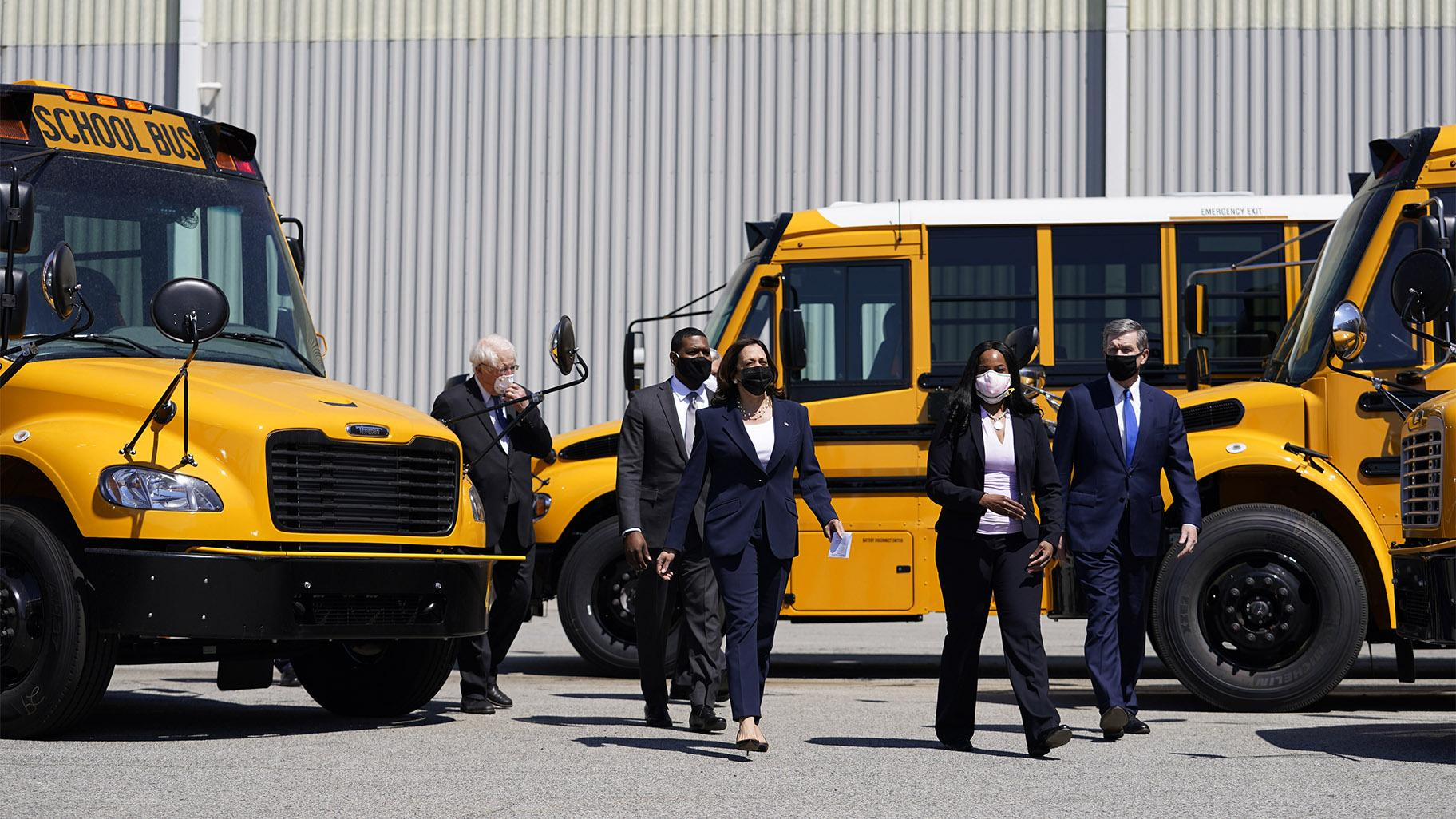 Vice President Kamala Harris tours Thomas Built Buses, Monday, April 19, 2021, in High Point, N.C. Harris is joined by EPA Administrator Michael Regan, North Carolina Gov. Roy Cooper, Leslie Kilgore Vice President of Engineering, Rep. David Price, D-NC. (AP Photo / Carolyn Kaster)