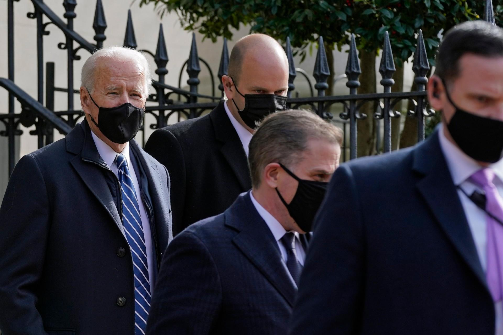 President Joe Biden departs after attending mass at Holy Trinity Catholic Church, Sunday, Jan. 24, 2021, in the Georgetown neighborhood of Washington. (AP Photo / Patrick Semansky)