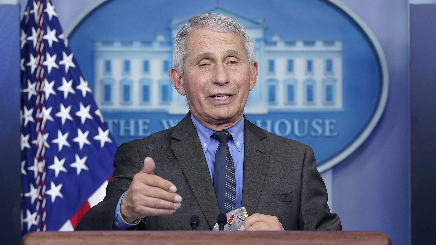 Dr. Anthony Fauci, director of the National Institute of Allergy and Infectious Diseases, speaks during a press briefing at the White House, Tuesday, April 13, 2021, in Washington. (AP Photo / Patrick Semansky)