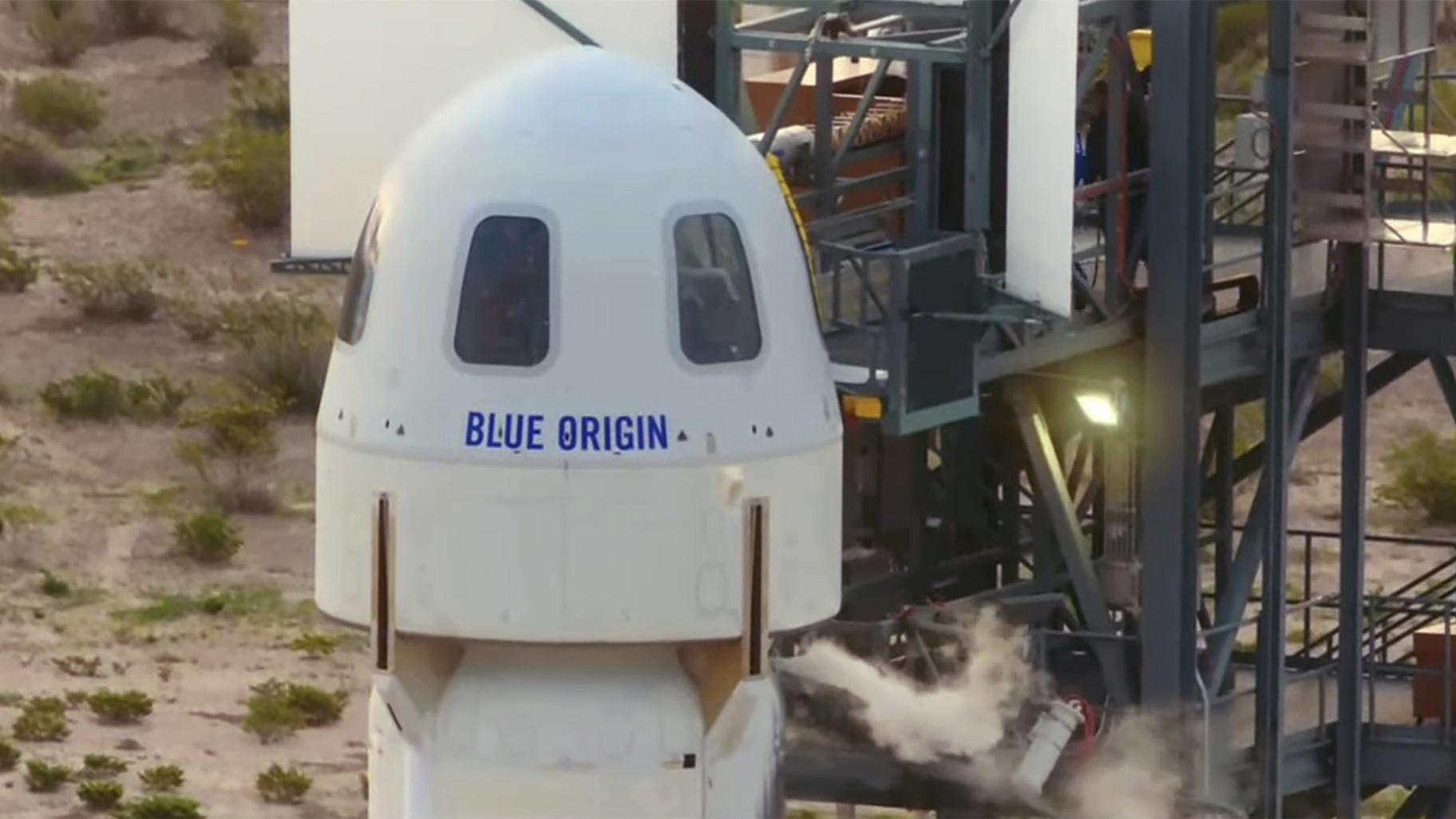 The passengers of the Blue Origin enter the capsule near Van Horn, Texas, Tuesday, July 20, 2021. (Blue Origin via AP)  - Blue Origin Bezos 21201454612944 - Jeff Bezos Blasts Into Space on Own Rocket: 'Best Day Ever!'   Chicago News