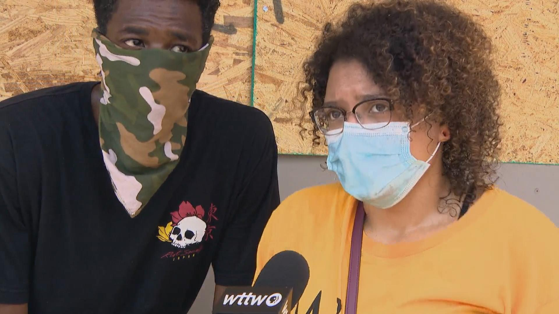 Kenosha residents and activists Brian Little and Diamond Hartwell speak with WTTW News on Thursday, Aug. 27, 2020. (WTTW News)