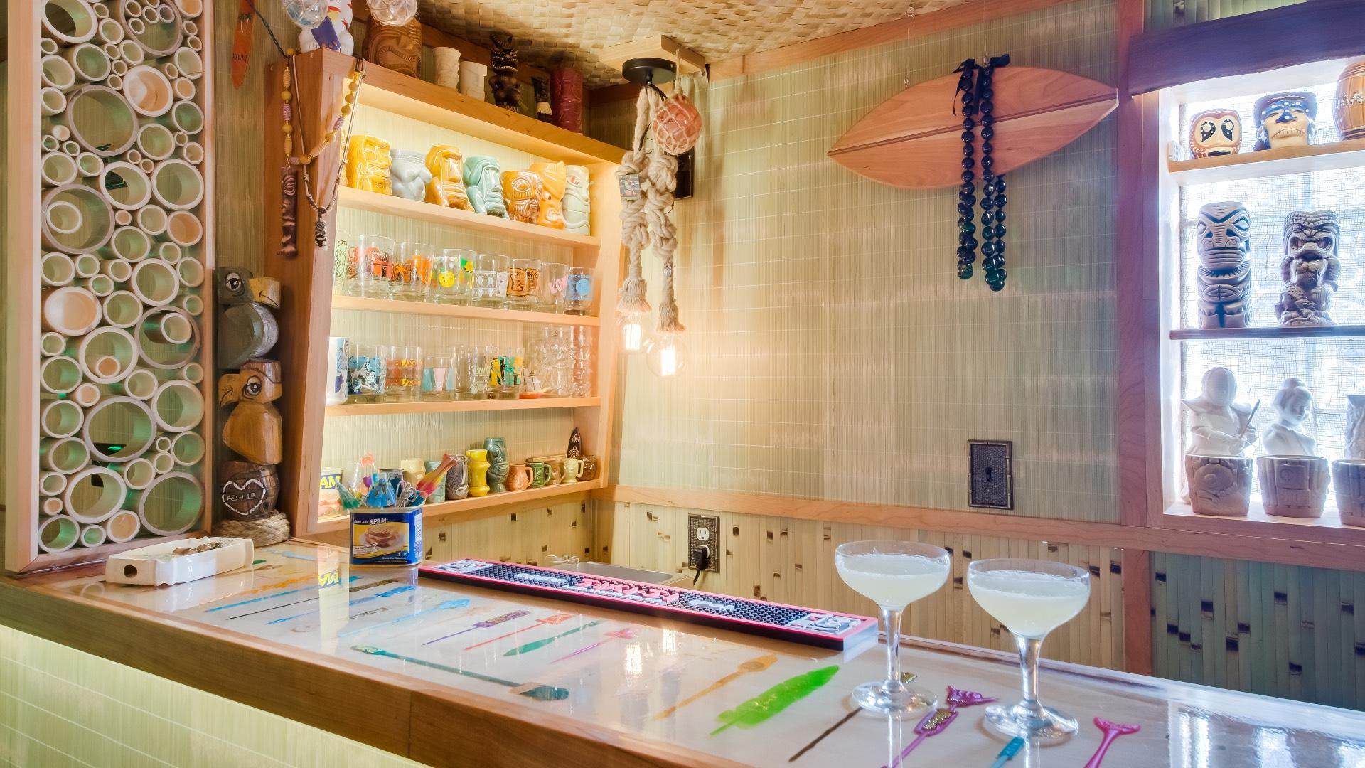 A Portage Park couple transformed their bungalow basement into a tiki bar. (Courtesy of Chicago Bungalow Association)