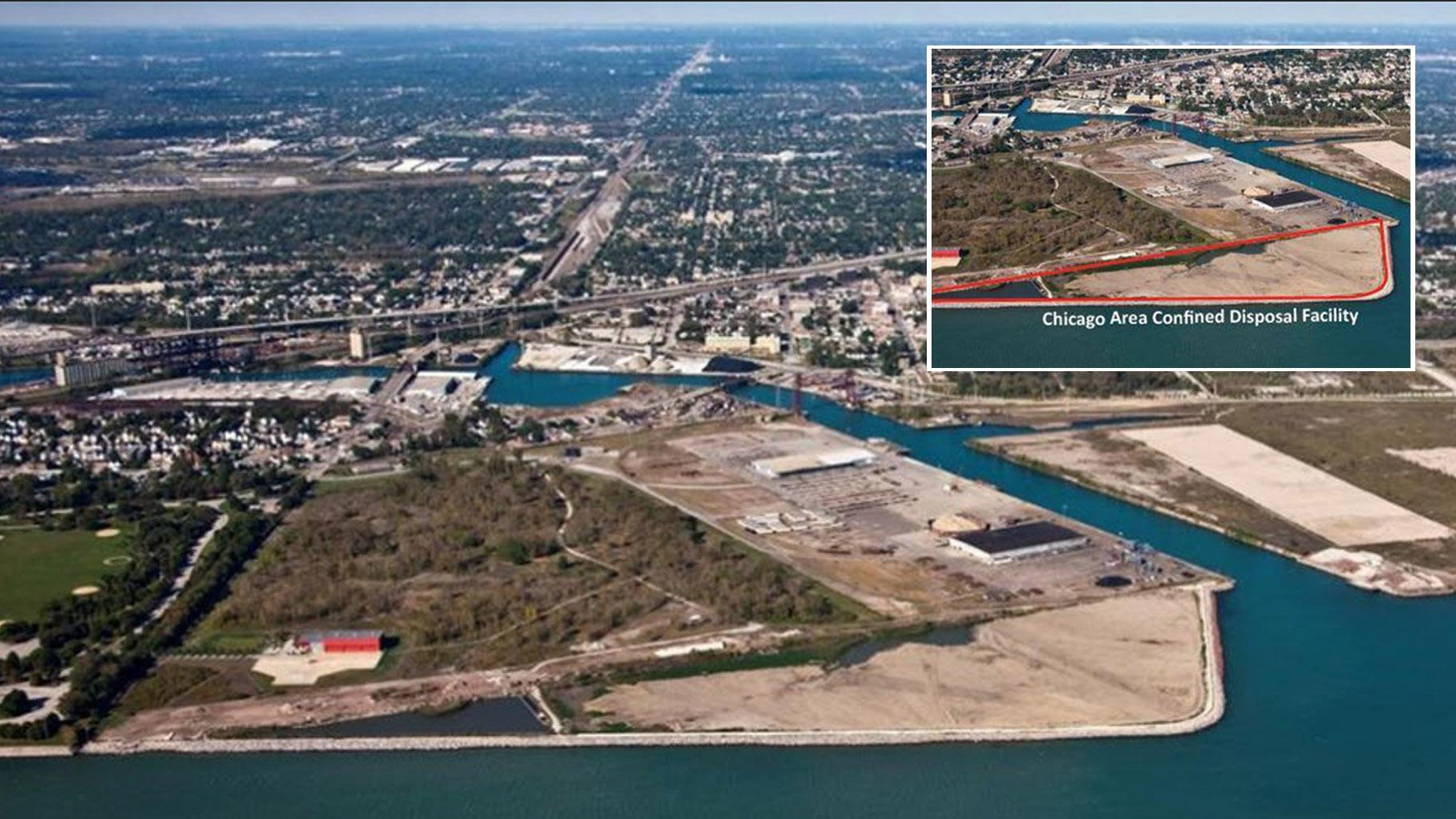 An aerial view of the Chicago Area Confined Disposal Facility, a 45-acre site on Chicago's Southeast Side that has been in operation since 1984. Inset: The CDF is outlined in red. (Credit: Army Corps of Engineers)