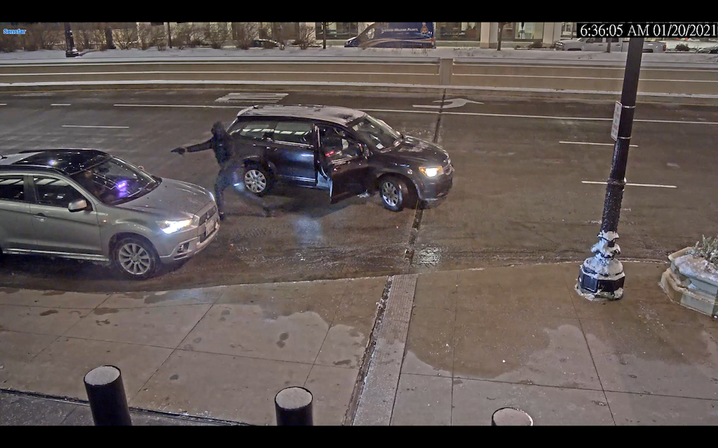 Chicago police released video of a vehicular hijacking that took place on Jan. 20, 2021 in the 200 block of South Wacker Drive. (Chicago Police Department)
