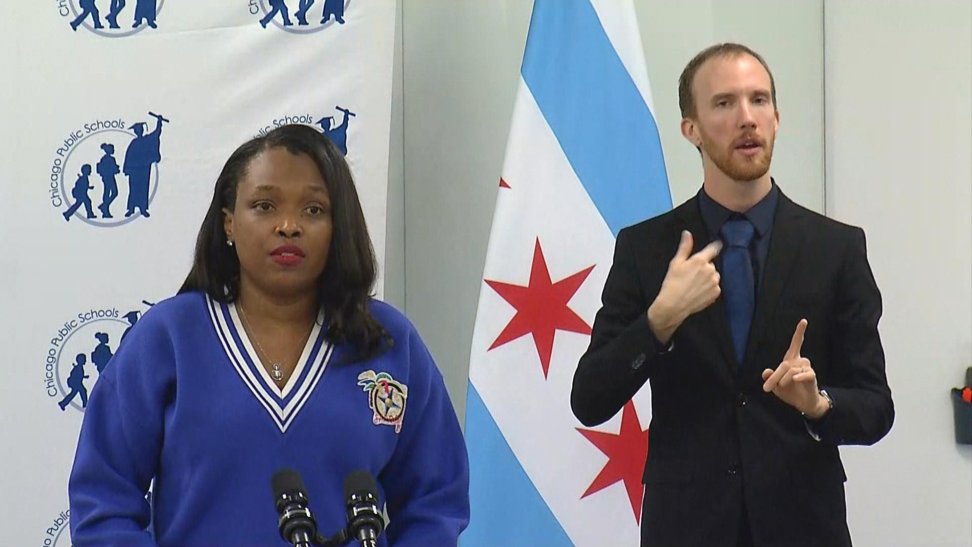 CPS CEO Janice Jackson speaks at a news conference Tuesday, Jan. 26, 2021 amid negotiations between the district and Chicago Public Schools. (WTTW News)