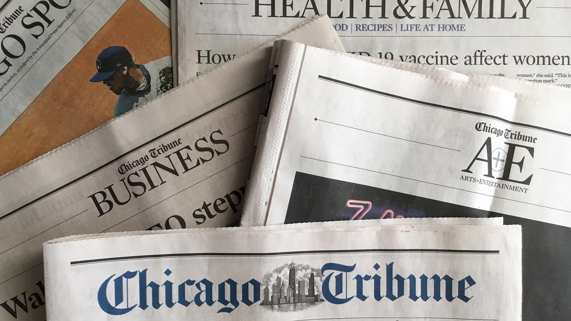 The Chicago Tribune announced changes in the paper to clarify the difference between news and opinion on Tuesday, July 28, 2020. (Rebecca Palmore / WTTW News)