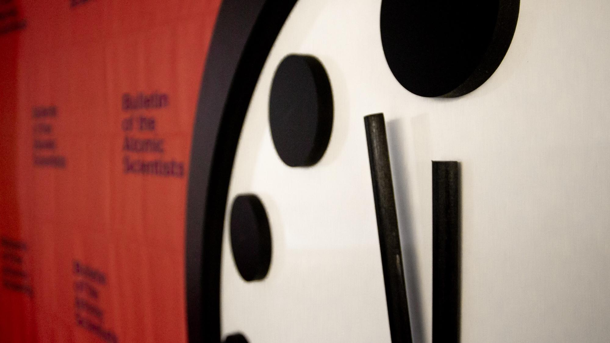 The Doomsday Clock is set at 100 seconds to midnight. (Courtesy of Bulletin of the Atomic Scientists)