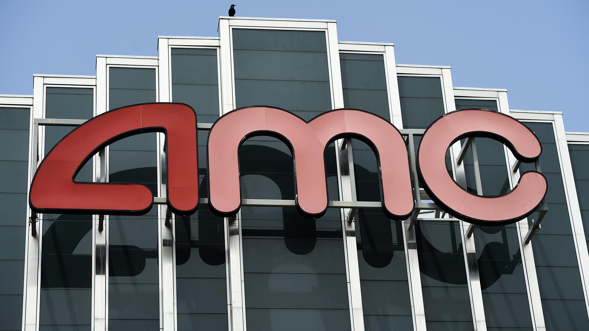 In this April 29, 2020 file photo, the AMC sign appears at AMC Burbank 16 movie theater complex in Burbank, Calif. (AP Photo / Chris Pizzello, File)