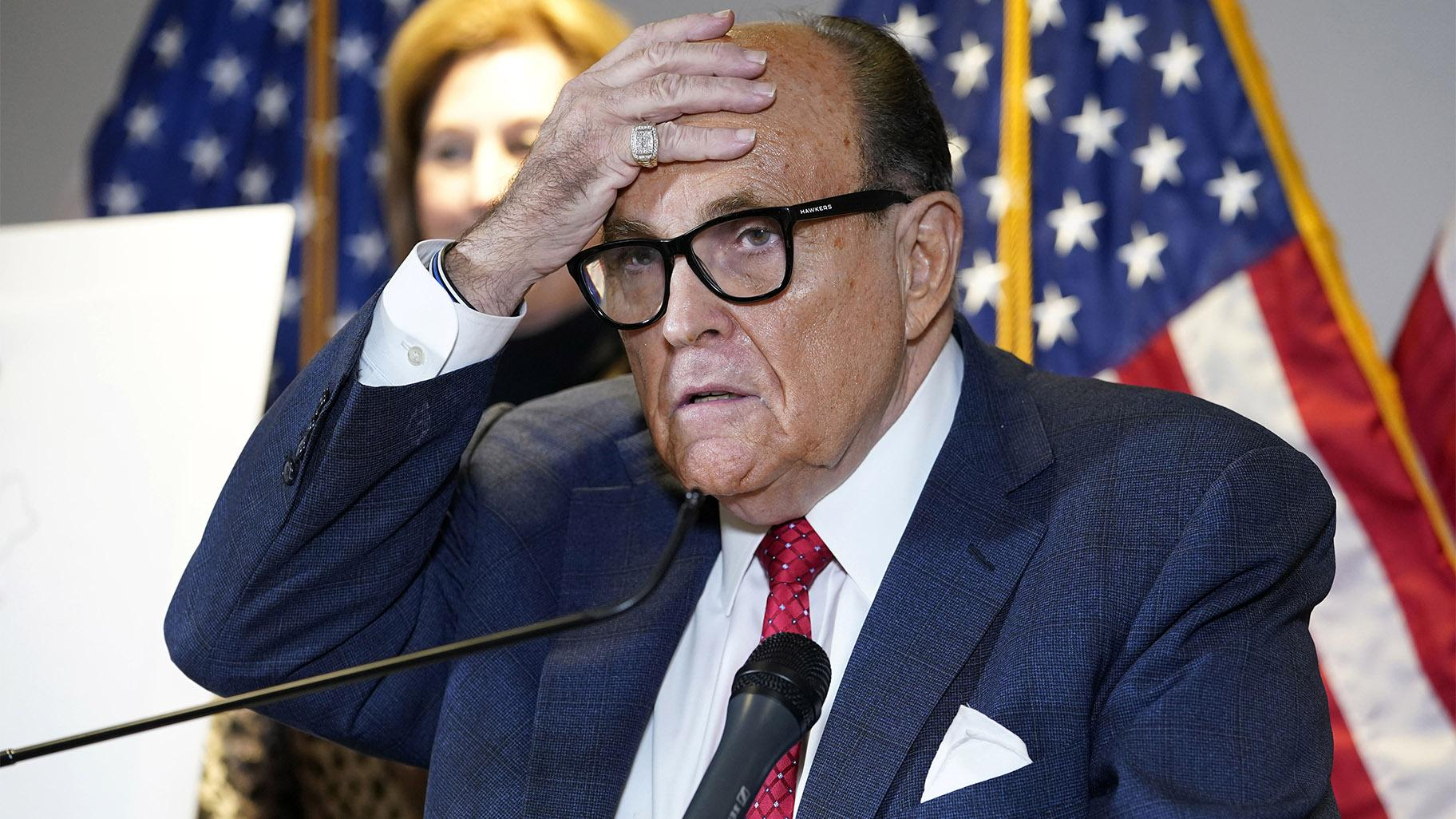 In this Nov. 19, 2020, file photo, former New York Mayor Rudy Giuliani, who was a lawyer for President Donald Trump, speaks during a news conference at the Republican National Committee headquarters in Washington. (AP Photo / Jacquelyn Martin, File)