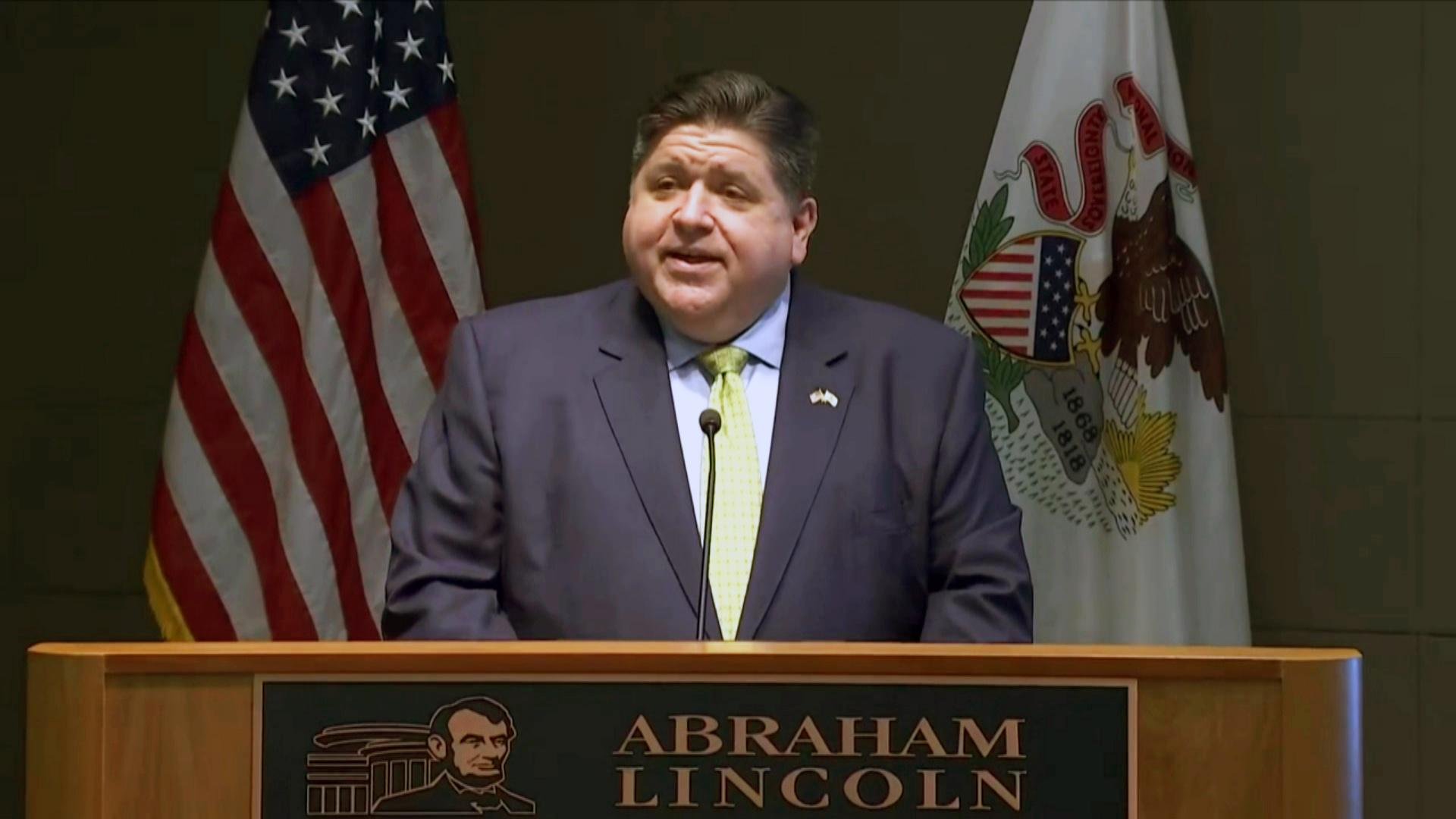 Gov. J.B. Pritzker announces a new campaign to encourage travel and tourism in Illinois on Wednesday, May 12. (WTTW News via Governor's Press Office)