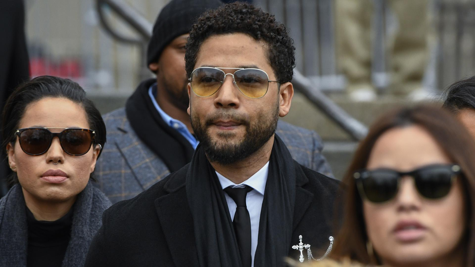 "In this Feb. 24, 2020 file photo, former ""Empire"" actor Jussie Smollett leaves the Leighton Criminal Courthouse in Chicago, after an initial court appearance on a new set of charges alleging that he lied to police about being targeted in a racist and homophobic attack in downtown Chicago early last year. (AP Photo / Matt Marton File)"