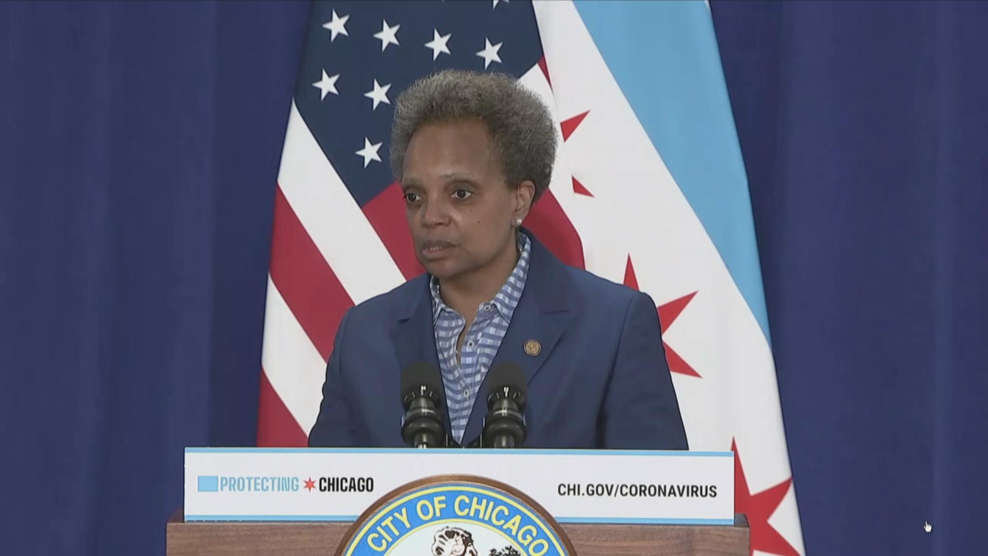Mayor Lori Lightfoot speaks to the media following a Chicago City Council meeting Wednesday, May 20, 2020.