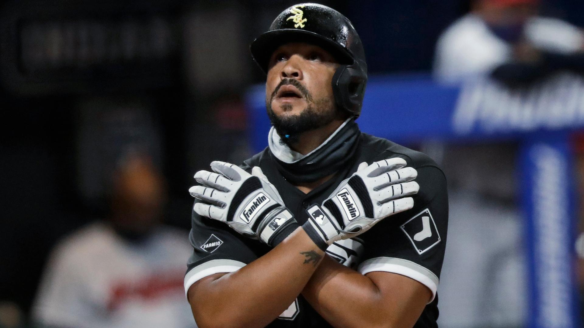 In this July 28, 2020, file photo, Chicago White Sox's Jose Abreu looks up after hitting a solo home run in the sixth inning in the second baseball game of the team's doubleheader against the Cleveland Indians in Cleveland. (AP Photo / Tony Dejak, File)