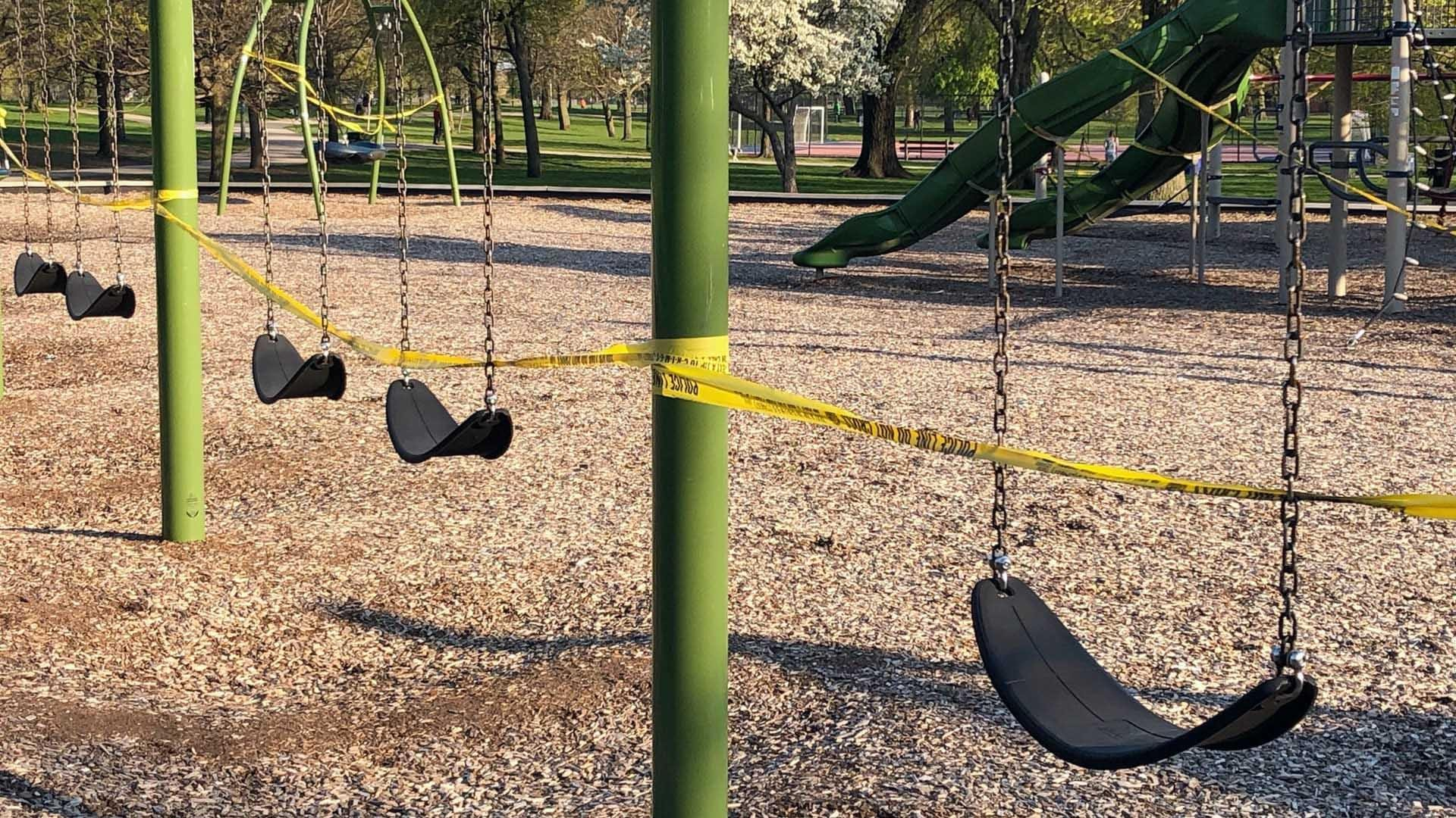 Playgrounds remain closed, awaiting public health guidance. (Patty Wetli / WTTW News)