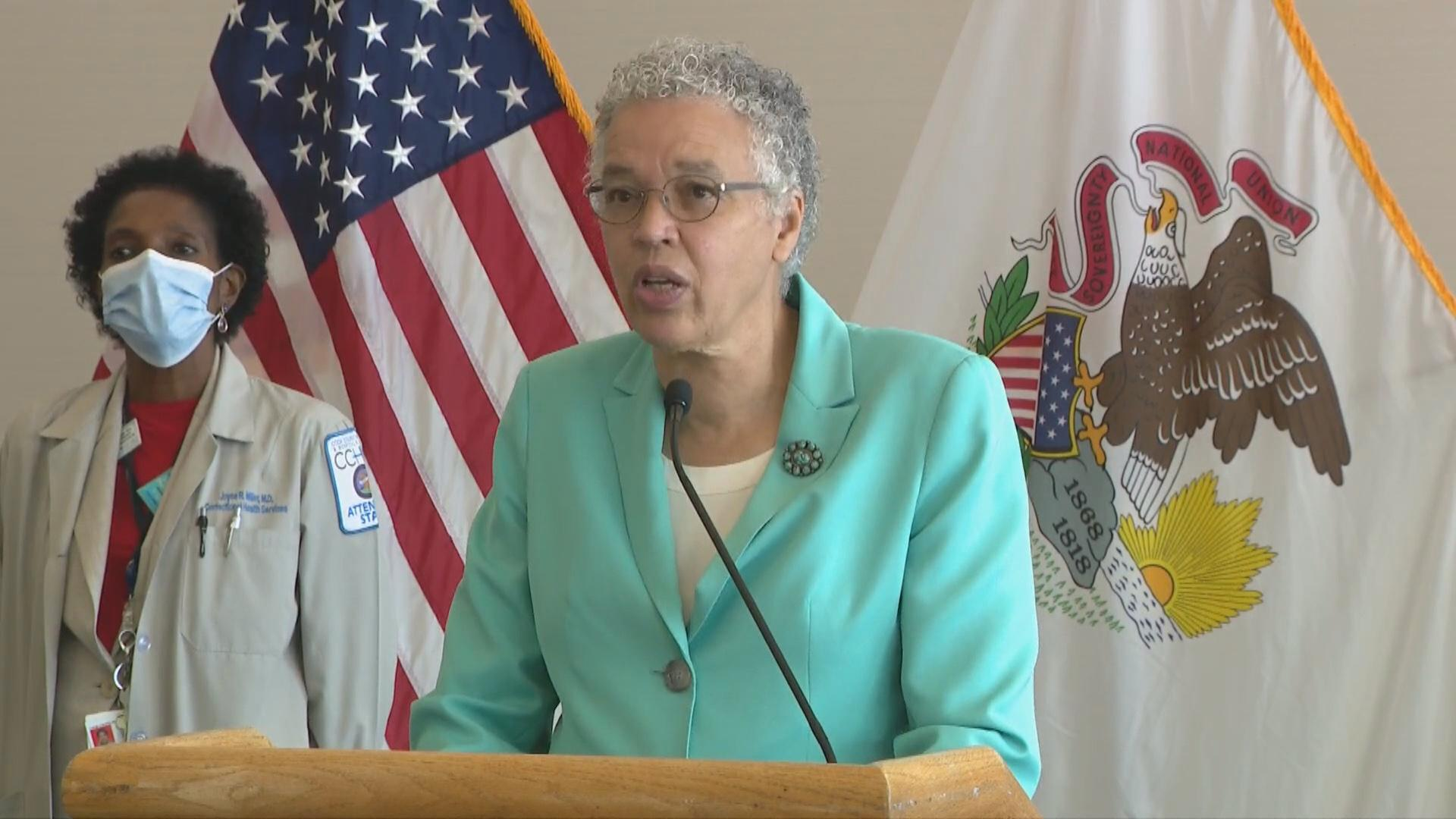 Cook County Board President Toni Preckwinkle talks about the rise in deaths by suicide in the Black community at a press conference on Tuesday, Aug. 4, 2020. (Toni Preckwinkle / Facebook)