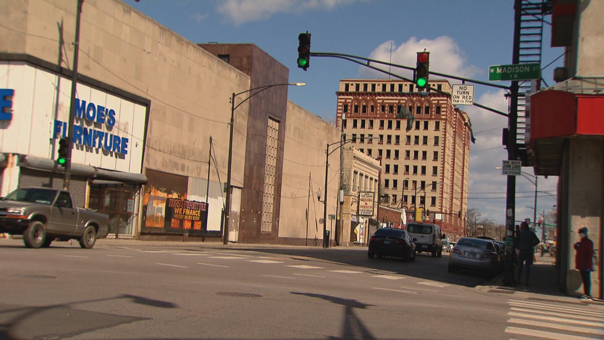 The intersection of Madison Street and Pulaski Road in Chicago. (WTTW News)
