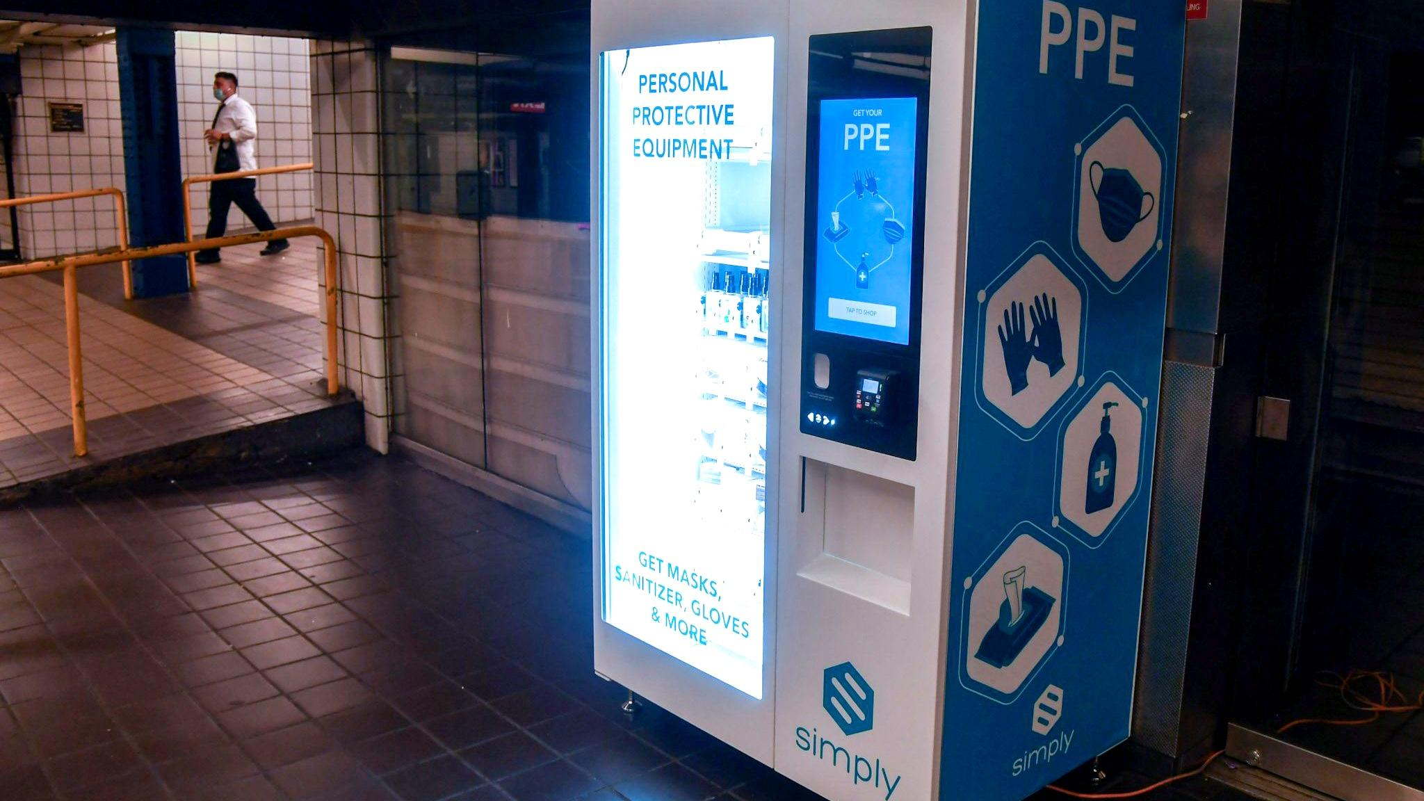 PPE vending machines, like this one installed at a New York subway station, are coming to six CTA stations. (Metropolitan Transportation Authority / Facebook)