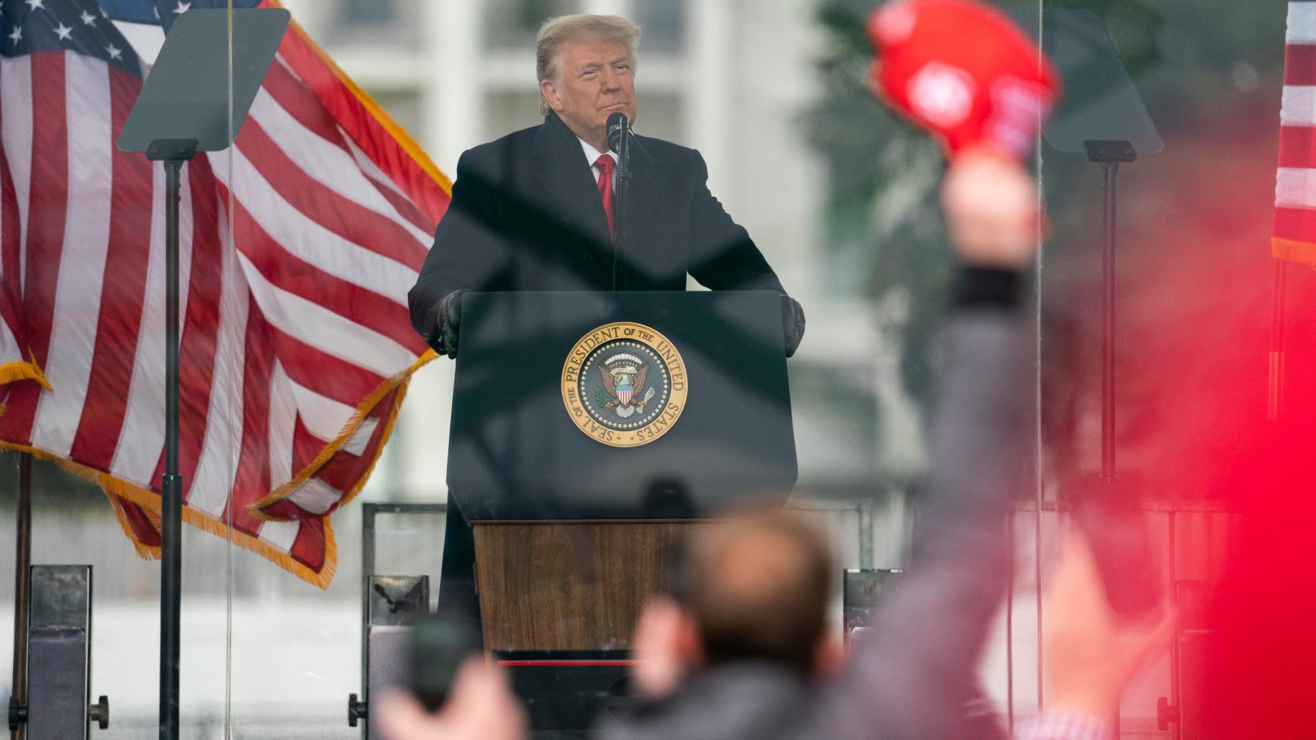 President Donald Trump speaks during a rally protesting the electoral college certification of Joe Biden as President, Wednesday, Jan. 6, 2021, in Washington. (AP Photo / Evan Vucci)