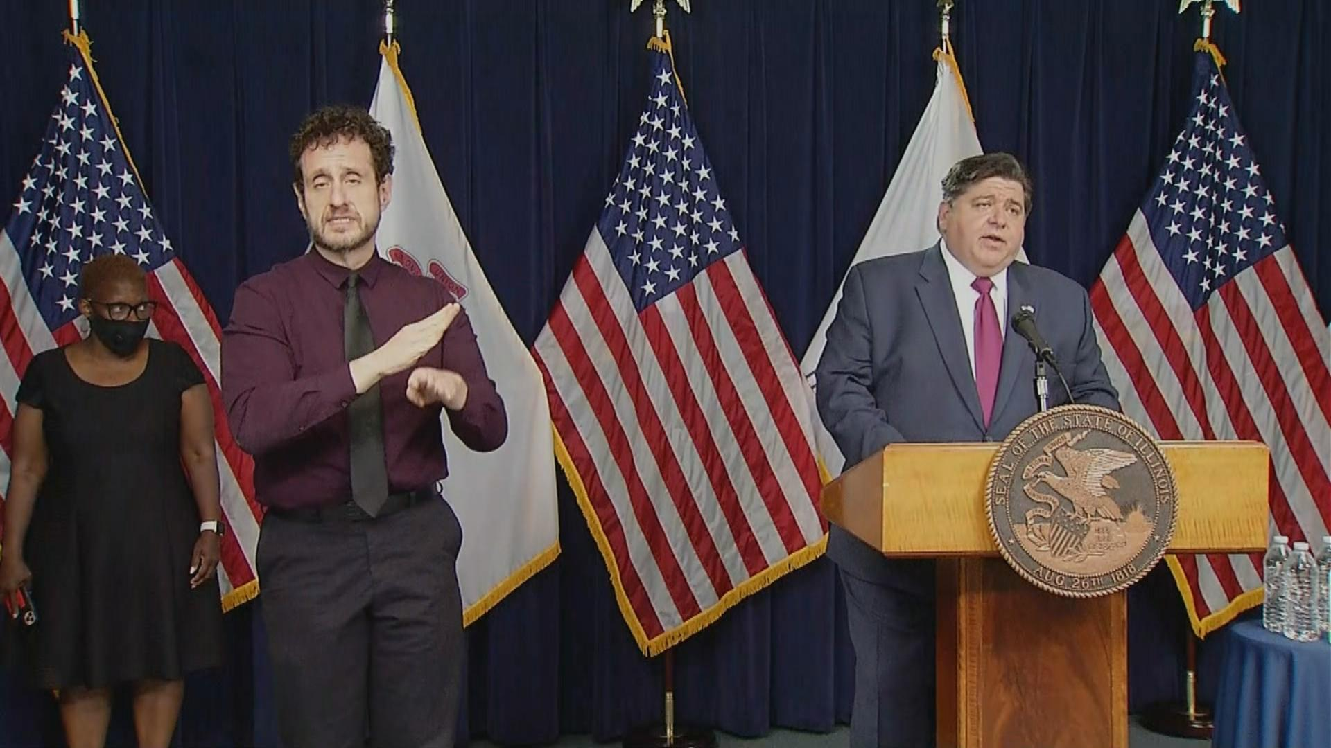 Gov. J.B. Pritzker announces Wednesday, Aug. 12, 2020 that $46 million in grants have been awarded to small businesses impacted by the coronavirus pandemic. (WTTW News)