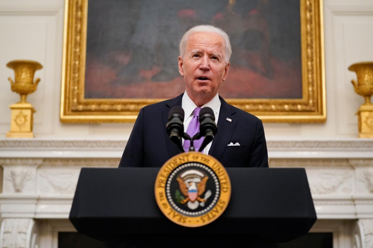 President Joe Biden speaks about the coronavirus in the State Dinning Room of the White House, Thursday, Jan. 21, 2021, in Washington. (AP Photo / Alex Brandon)