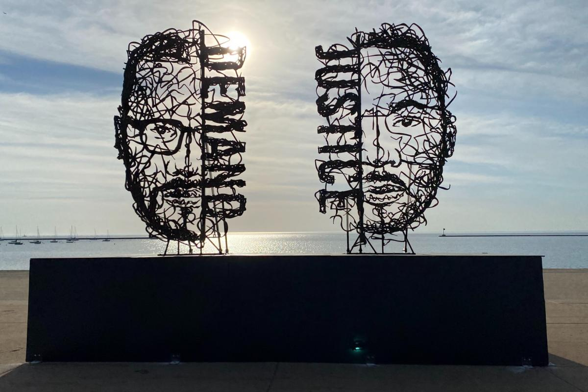 """""""Demand Justice"""" sculpture in Grant Park. Artist Maxwell Emcays will talk about his inspiration and Juneteenth, June 19, 2021. (Courtesy of Chicago Park District)"""