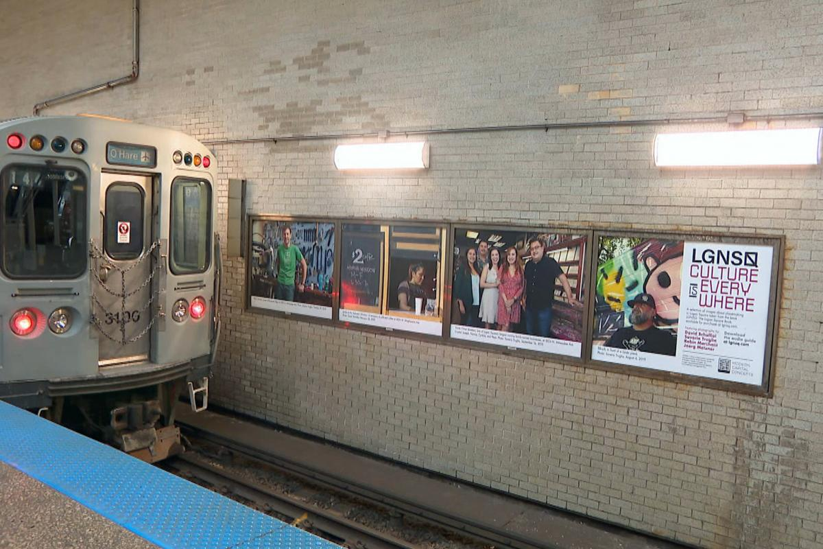 """Now through June 27, the Logan Square Blue Line station platform is a subterranean gallery featuring a selection of photographs from """"The Logan Square Book — Gentrification and Preservation in a Chicago Neighborhood."""" (WTTW News)"""