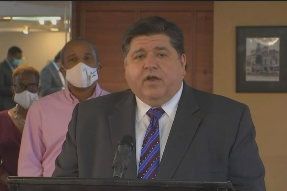 Gov. J.B. Pritzker talks about the need for the federal government to provide relief to state and local governments impacted by the coronavirus pandemic on Tuesday, Sept. 15, 2020. (WTTW News)