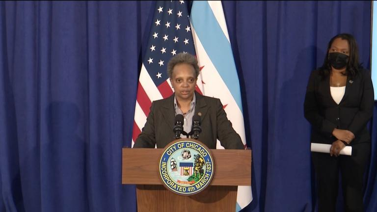 Mayor Lori Lightfoot speaks Friday, Jan. 29, 2021 alongside Chicago Public Schools CEO Janice Jackson about the district's reopening plans and ongoing negotiations with the Chicago Teachers Union. (Chicago Mayor's Office / Facebook)