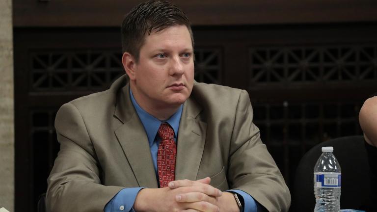 Chicago police Officer Jason Van Dyke listens to closing arguments Thursday, Oct. 4, 2018. (Antonio Perez / Chicago Tribune / Pool)