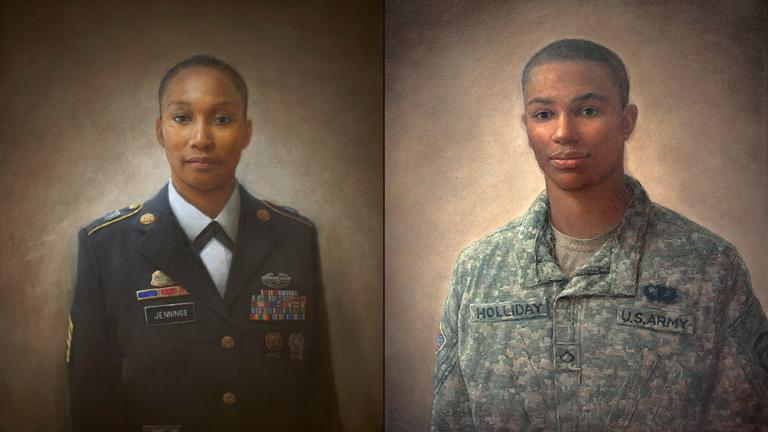 "Paintings by Matt Mitchell from ""100 Face of War"" include portraits of Alma Jennings, left, and Jaron Holliday. (Courtesy National Veterans Art Museum)"